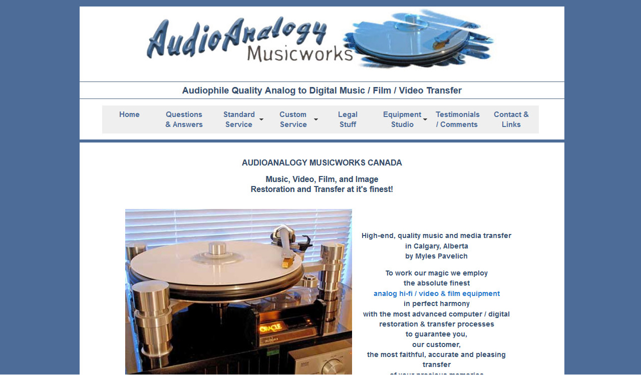 Audioanalogy website by Fireflywebs.ca