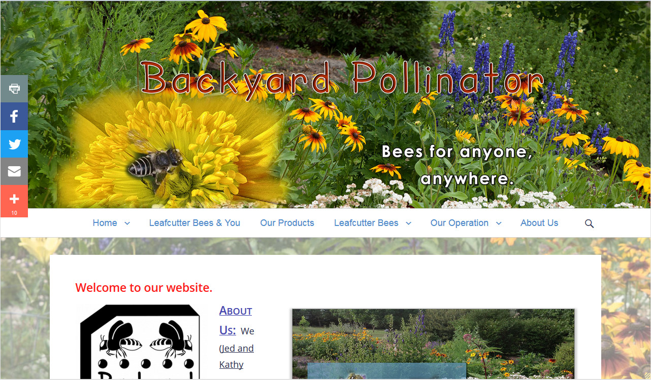 Backyard Pollinator website by Fireflywebs.ca