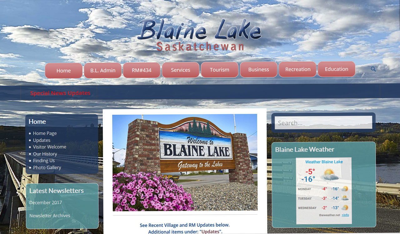 Town of Blaine Lake website by Fireflywebs.ca
