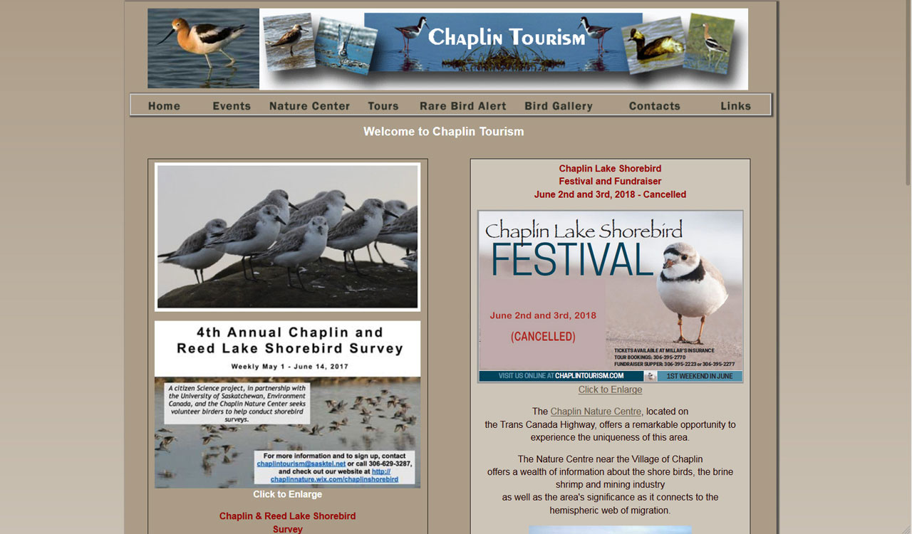 Chaplin Tourism website by Fireflywebs.ca