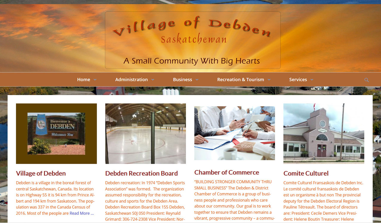 Village of Debden website by fireflywebs.ca