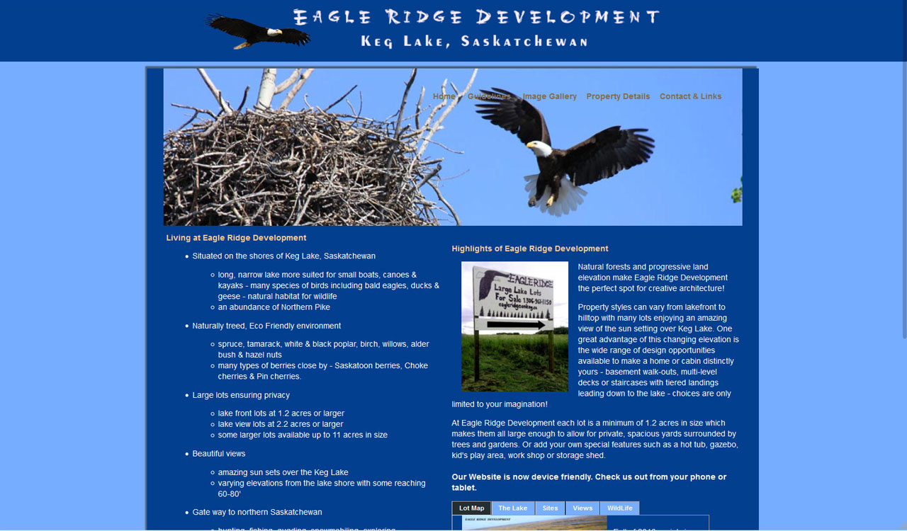 Eagle Ridge on Keg website by fireflywebs.ca