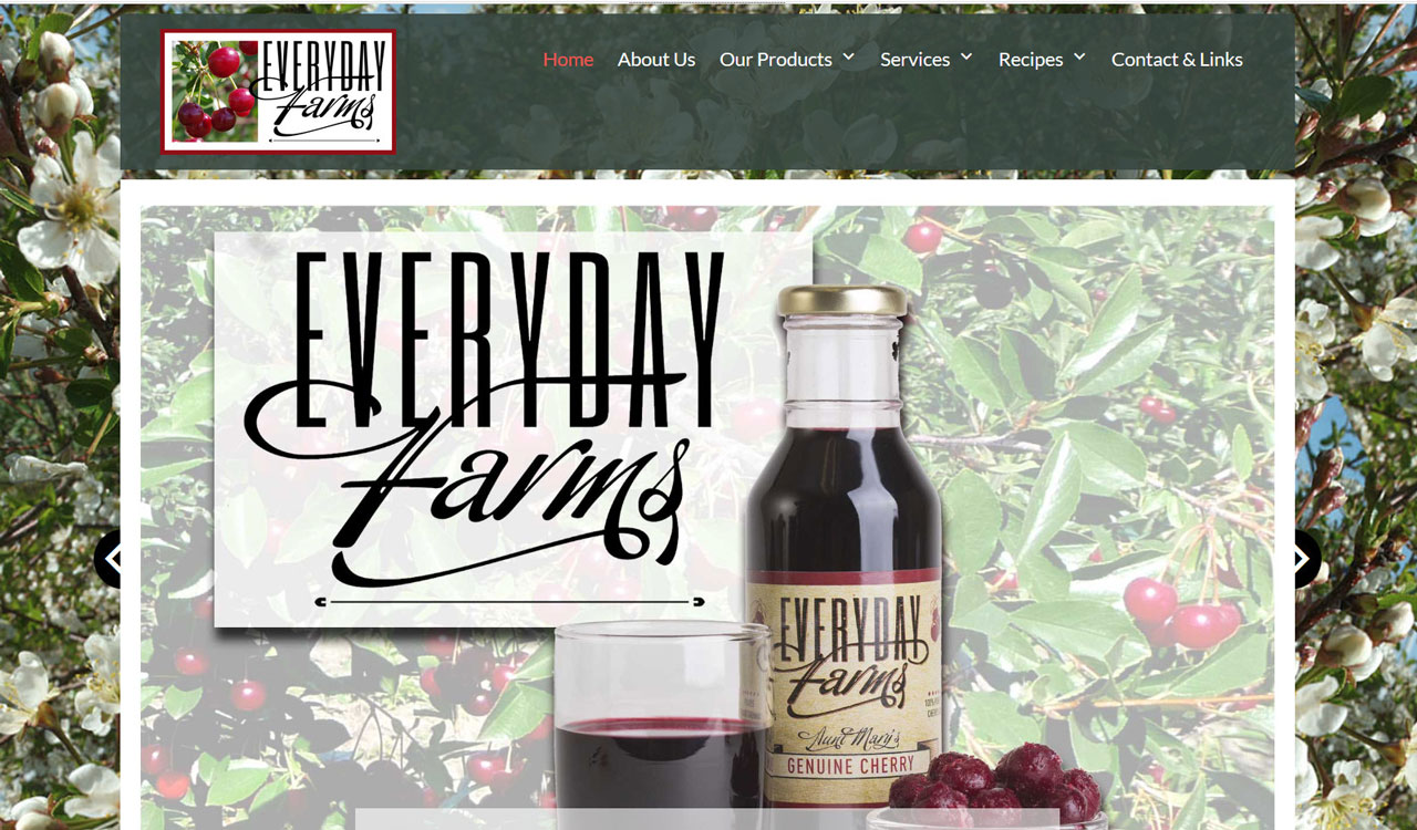 Cherry producer, everyday farms, website by fireflywebs.ca