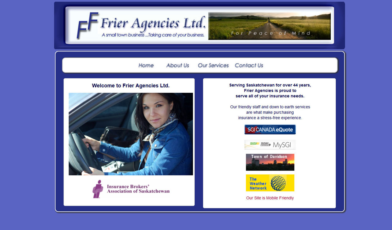Frier Agencies website by fireflywebs.ca