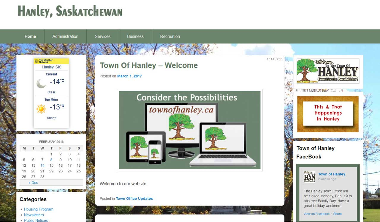 Town of Hanley website by fireflywebs.ca