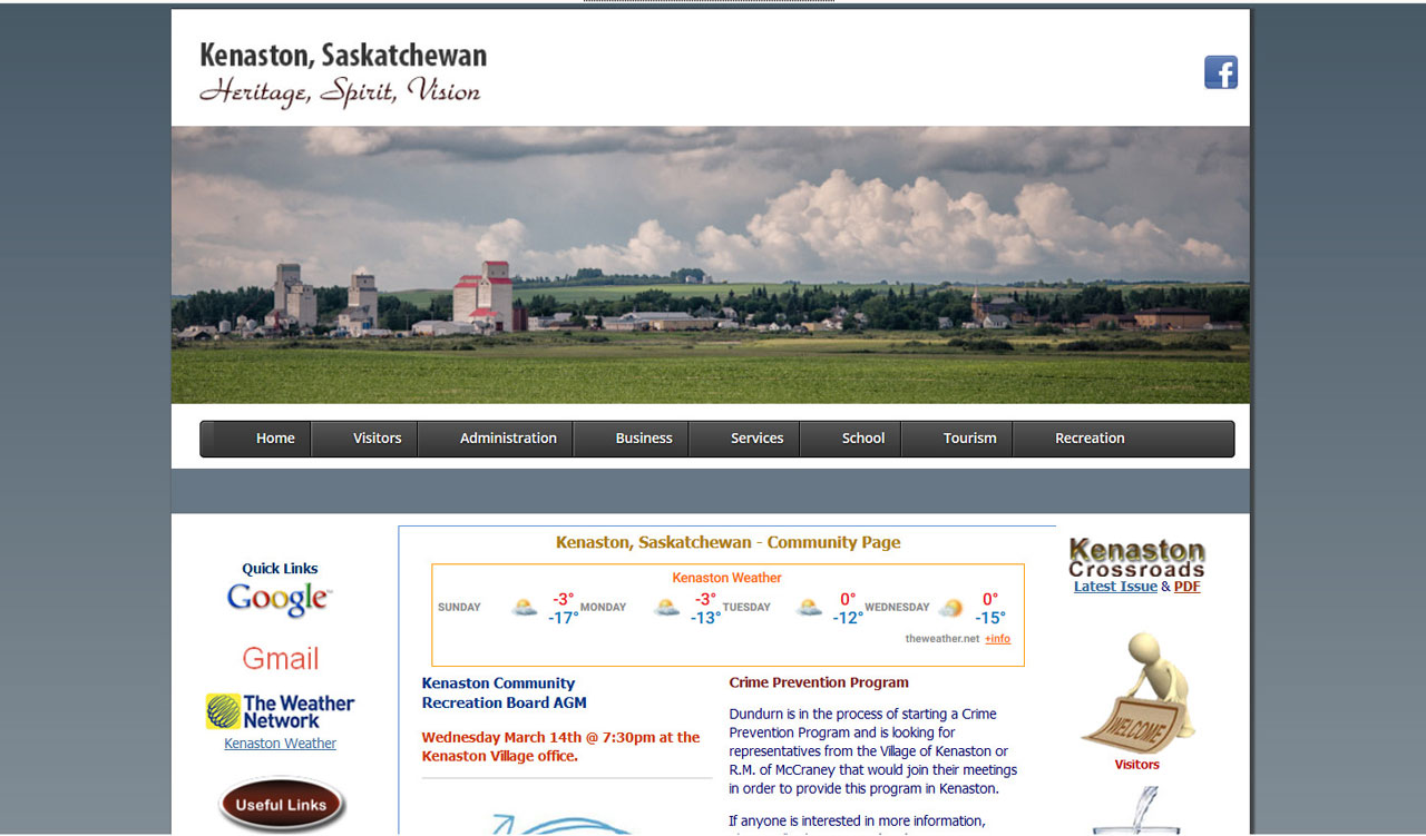 Village of Kenaston website by fireflywebs.ca