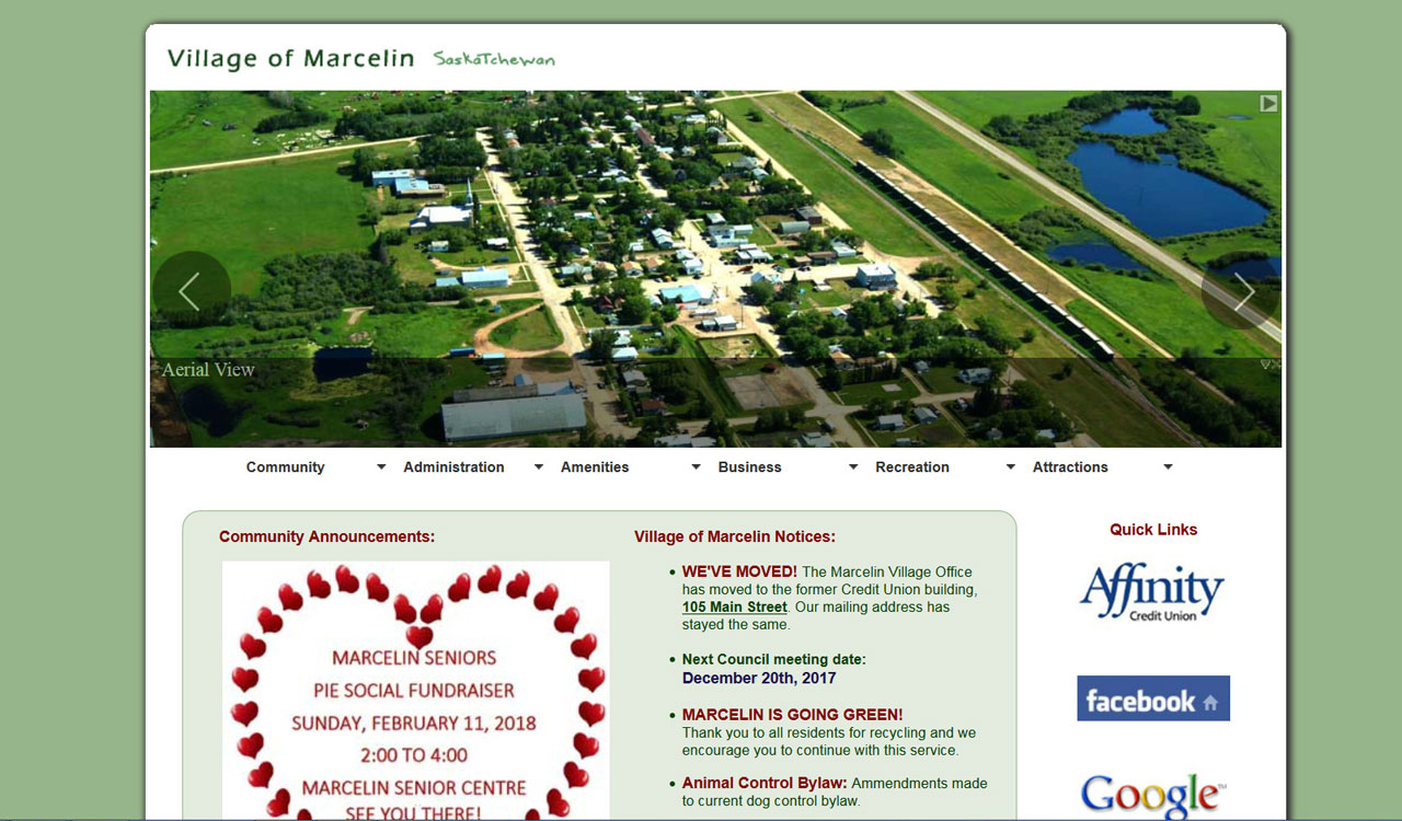 Village of Marcelin website by fireflywebs.ca