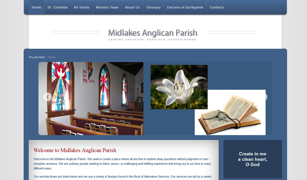 Midlakes Anglican website by fireflywebs.ca