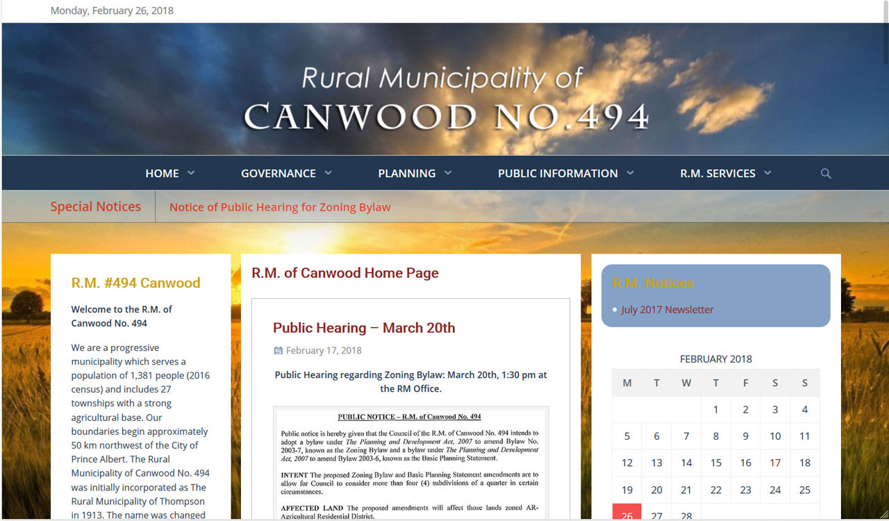 RM of Canwood website by fireflywebs.ca
