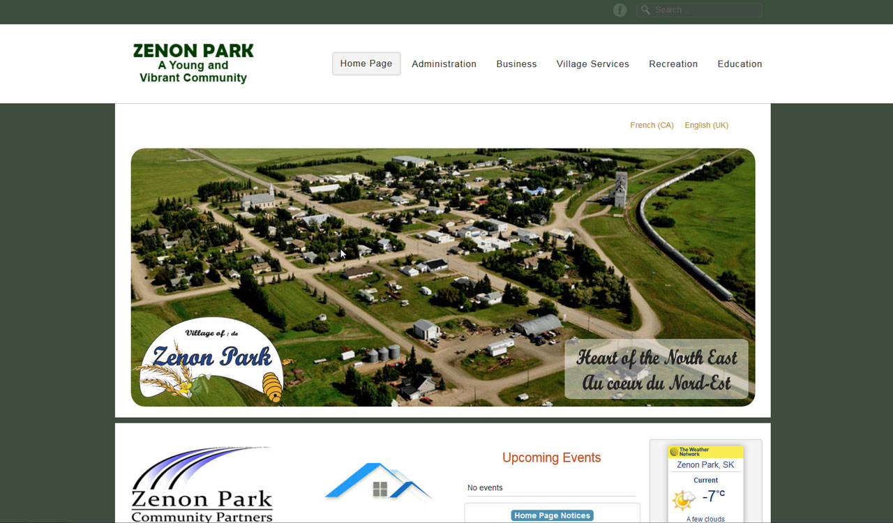 Zenon Park website by fireflywebs.ca